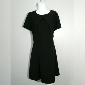 NWT J.Taylor black ribbed short sleeve dress sz 14
